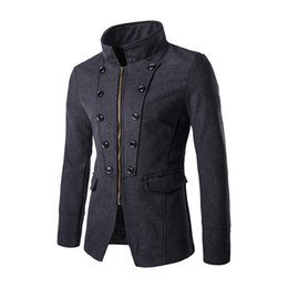Wholesale Zipper Design Trench Coat - Wholesale- Mens Black Trench Coats Long Sleeve Solid Button Zippered Royal Style Male Outerwear Design Slim Short Wool & Blends F63 Jacket