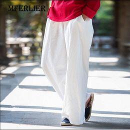 Wholesale Wide Linen Pants - Summer Trousers Women 2017 Loose Casual Wide Leg Pants Solid Color Full length Elastic Waist Linen Pants With Pocket