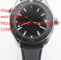 Wholesale Planet Ocean Eta - Top High quality NEW Black ETA Movement Case Sea Planet Ocean BEZEL automatic movement glass back transparent STEEL Belt band original clasp
