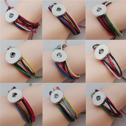 Wholesale Bracelets Cotton - Bohemian Cotton Rope Friendship Multilayer Noosa Chunks Metal Ginger 18mm Snap Buttons Bracelet Unisex Jewelry Wholesale