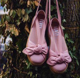 Wholesale Lace Up Ballet Flats - 2017 New Arrival Fenty Rihanna Bow Creeper Bandana Sandal Cheap Fashion Women Sliver Pink Tint Leather Ballet Shoes Size 35-40