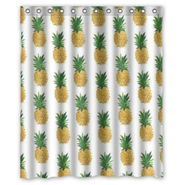 Wholesale Custom H - Customs 36 48 60 66 72 80 (W) x 72 (H) Inch Shower Curtain Periodic Pineapple Background Polyester Fabric Shower Curtain