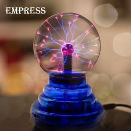 Wholesale Plasma Tables - Wholesale- NEW 3 4 5 6 inch Crystal Plasma Ball Magic Lon Sphere Light Electric Lightning ball Novelty Table Lamp Party Decor Box Lightning