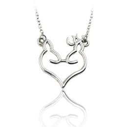 Wholesale Doe Animal - Wholesale-Animal Hunting Jewelry Broken Heart Buck & Doe Pendant Necklace Couple Lover Gifts Drop Shipping Collar Collar de Plata
