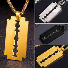 Wholesale copper brushes - U7 New Fashion Updated Men Stainless Steel Razor Blade Necklace Pendants With Brushed Metal Trendy Rope Chain for Men Perfect Gift GP2395