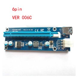 Wholesale Pci E Power Cable - Latest VER 006C VBitcoin Ver006 Ver006c Miner Riser PCI-E Express 1X to 16X Graphics Card Riser USB 3.0 SATA to 4 6 Pin Power 60cm