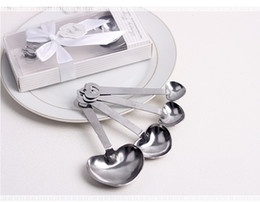 Wholesale Measuring Spoon Hearts - Love Wedding favors of Simply Elegant Heart Shaped Stainless Steel measuring spoon in White Gift Box wa4111