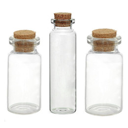 Wholesale Glass Potion Bottles - Wholesale- Glass Bottles Small Vase Tiny Bottles Jewelry Vial Potion Glass & Wooden Box Wishing Gift Jewelry Storage Boxes Organizer 5PCs