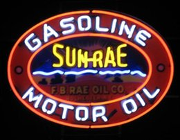 "Wholesale Restaurant Oil - SUN-RAE Motor Oil Gasoline Neon Sign Gas Company Store Shop Handmade Custom Real Glass Display Neon Signs W Printed Plastic Board 17""X14"""