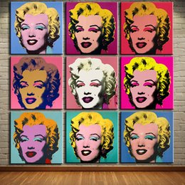 Wholesale Marilyn Monroe Oil Canvas - andy warhol 9pcs marilyn monroe wall art oil painting on canvas No frame Pictures For Living Room