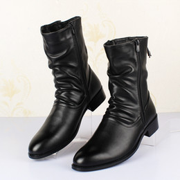 Wholesale Mid Calf Pointed Toe Boots - British style Boots Winter Spring Top quality Zip Soft Leather Men Black Boots,Handmade Snow Pointed Toe Shoes Men D50