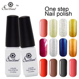 Wholesale One Step Gel Led - Wholesale-Saviland 1pcs Soak Off UV LED One Step Gel Nail Polish 3 In 1 No Need Top Base Coat Varnishes Nail Art Colors Gel Polish