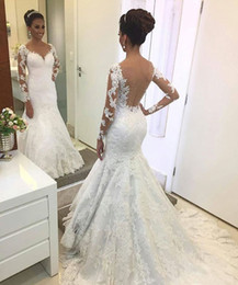 Wholesale Elegant Dresses Beaded Wedding - Elegant Lace Long Sleeve Mermaid Wedding Dresses 2017 Square Neck Applique Beaded Sexy Backless Wedding Dress Bridal Gowns Custom Made