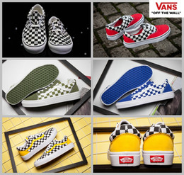 Wholesale Women Sport Shoes Designer - 2017  Authentic CANVAS Shoes Women Men Black White Blue Designer Sport Casual Running Era Old Skool checkerboard skate Sneakers 36-44