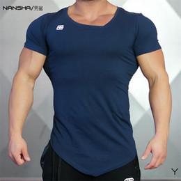 Wholesale Mens Wholesale V Neck - Wholesale- HOT SELL 2017 Summer New Fashion Brand Mens Gyms Clothing V-neck Solid Color Short Sleeve Slim Fit T Shirt Men Cotton T-Shirt