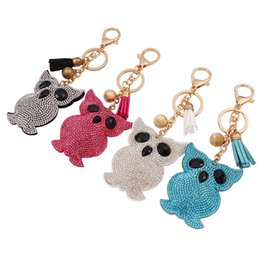 Wholesale Owl Leather Bag - 2017 fashion cute owl imitation diamond key chains candy colors tassel penden vintage girl bag pendant creative key chains for women jewelry