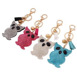 Wholesale Owl Key Jewelry - 2017 fashion cute owl imitation diamond key chains candy colors tassel penden vintage girl bag pendant creative key chains for women jewelry