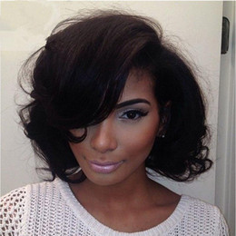 Wholesale Indian Vrigin Remy Hair - Short Bob Wigs 100% Real Indian Human Hair Unprocessed Vrigin Remy Front Lace Wigs With Baby Hair Stocked