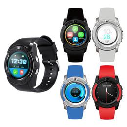 Chips de teléfonos celulares online-V8 Circular PK U8 DZ09 A1 GT08 Cuadrado Bluetooth Android Reloj Inteligente Soporte Cámara MTK Chip Micro Sim TF Tarjeta Smartwatch Para teléfono celular