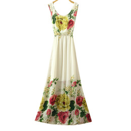 Wholesale Cheap China Wholesale Dresses - Wholesale- Dress Summer 2017 long-dress-chiffon women floar print maxi dress beach o neck cheap clothes china high quality dresses