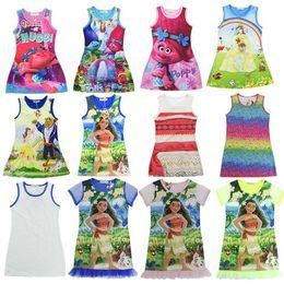 Wholesale Kids Evening Clothes - 12Designs Trolls Girls Dresses Moana Sleeveless Dresses Beauty and Beast Summer Nightgown Children Evening Sleeping Dress Baby Kids Clothes