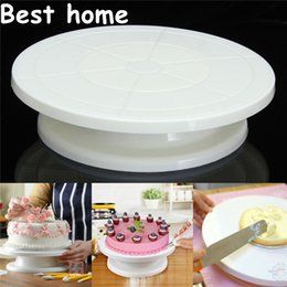 Wholesale Cake Turntable Plastic - 2016 new Food Grade Plastic Material Cake Decorating Turntable Rotating Revolving Icing Kitchen Display Stand 28cm Baking Tools