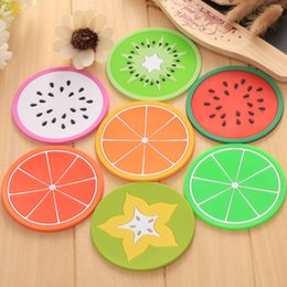 Wholesale Orange Color Kitchen - Silicone Fruit Jellylike Dining Coaster Kitchen Table Placemats Heat Insulation Bar Mag Cup Mats Pads Lemon Orange Pitaya Carambola b1270