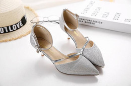 Wholesale Types Heels Sandals - Han edition pointed hollow heel sandals documentary shoes married a female character type strap heels silver high heels