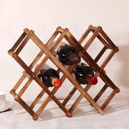Wholesale Wine Bottle Display Stand - 1Pcs High Quality New Solid Wood Folding Wine Racks Foldable Wine Stand Wooden Wine Holder 10 Bottles Kitchen Bar Display Shelf