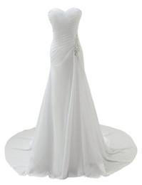 Wholesale Drop Waist Beaded Dress - Women's Beading Waist Pleated Wedding Dress Boho Style Chiffon Bridal Dress Gowns Sweetheart Appliques Beaded Wedding Dress