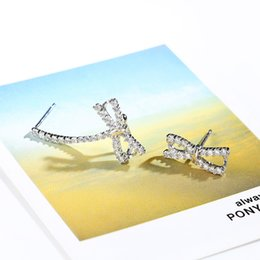 Wholesale 925 Earring Cuff - S925 pure silver Bowknot earrings stud earrings fashion earrings female ear cuff stealing silver stud earring Jewelry gifts E485