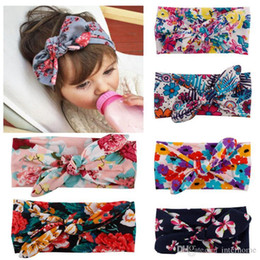 Wholesale Baby Ear Band - Baby Headband Bowknot Printed Head Bands Rabbit Ears Infants Floral Hair Bands Kids Headwraps Children Bandanas Baby Hair Accessories H274