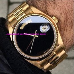 Wholesale Big Face Watches Men - AAA Luxury Men Automatic Watch Big Black Face Mechanics Men's Watches Sapphire Original 18K Gold Stainless Steel Clasp Mens WATCH 36MM