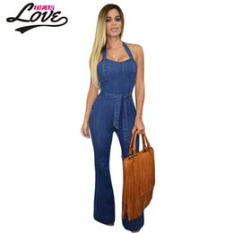 korean style jumpsuits Coupons - Wholesale- whiter Autumn Korean Fashion PlusSize Street Style Halter Wide Leg Denim Jumpsuit With WaistbeltLC60577womens playsuits Overalls