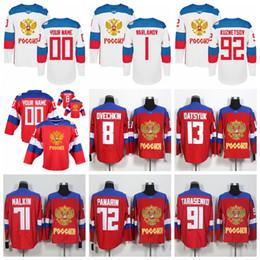 Wholesale Russia Hockey - Team Russia 8 Alex Ovechkin 13 Pavel Datsyuk 71 Evgeni Malkin 72 Artemi Panarin 91 Vladimir Tarasenko 2016 World Cup of Hockey Jerseys