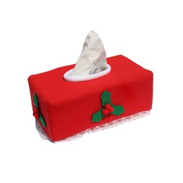 Wholesale Tissue Box Santa Claus - Wholesale- Christmas Style Creative Santa Claus Belt Felt Tissue Box Case Holder home decoration napkin holder for paper towels 2Style 1Pcs