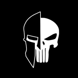 Wholesale Warrior Skull Mask - Wholesale 10pcs lot Warrior Helmet Double Masked Terrorist Skull Car Sticker for SUV Motorhome Motorcycles Car Decor Reflective Vinyl Decal