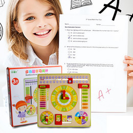 Wholesale Baby Dates - Creative Educational Toy Wooden Clock Baby Kids Date Learning Developmental Versatile Flap Abacus Wooden Clock Toy