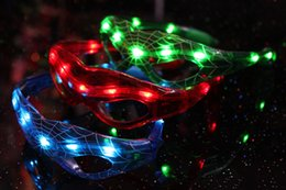 Wholesale Party Glasses Spiderman - Hot Spiderman LED Light Flashing Glasses Gift Cheer Dance Mask Christmas Halloween Days Gift Novelty LED Glasses Led Rave Toys Party Glasses