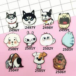 Wholesale Harajuku Brooch - Wholesale- Husky Dogs Badge Acrylic Brooch Pins Cartoon Cat Lapel Pin Women Men Brooches Clothes Jewelry Accessories Japan Harajuku