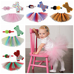 Wholesale Classic Baby Clothes Sets - girls tulle skirt christmas tutu skirts set infant flower headbands pettiskirt tutus leggings birthday party supplies baby boutique clothing