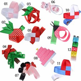 Wholesale Sculptured Bows - 2017 new Kids Ribbon Sculpture clips Baby grosgrain ribbon bow hair clip Children Christmas tree free shipping