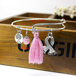 Wholesale Evil Eye Hand Charm - 2017 breast cancer awareness pink ribbon charm bracelet or ethnic silver bracelet evil turkish eyes hamsa hand expandable bangle bracelet