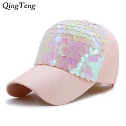 Wholesale Black Scale Hats - Baseball Cap Women Pink Fish-Scale Sequins Caps Casual Snapback Hat For Girl Casquette Gorras Bone Hip Hop Summer Female Fashion