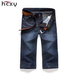 Wholesale Wash Design Denim Pant - Wholesale-2016 Summer Mens Denim Shorts New Brand design Men Knee Length Blue thin Jeans shorts Mens Washed Cotton Jeans
