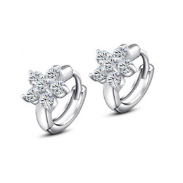 Wholesale gold earrings for babies - 18K White Gold Plated Clear Round Zircons Flowers Circles Loops Small Huggie Hoop Earrings for Women Children Girls Baby Kids Jewelry