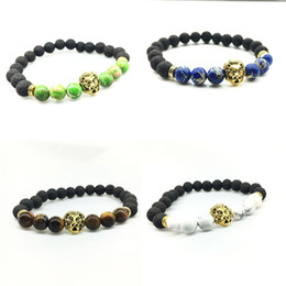 Wholesale Lion Heart - Hot sale New Fashion Mens Bracelets Jewelry Natural Stone Beads Gold Silver Lion Head Bracelets Party Gift
