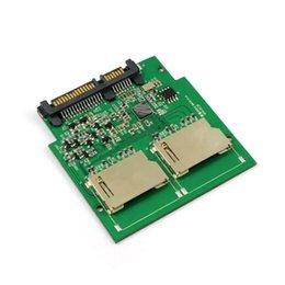 Wholesale Dual Sdhc - 50pcs   lots Dual SD SDHC MMC Memory Card to 7+15 Pin 22pin SATA Male Convertor Kit RAID0 Adapter