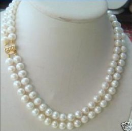 Wholesale Double Rows Pearl Necklace - 2 rows 8-9MM DOUBLE STRAND WHITE PEARL NECKLACE
