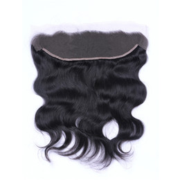 Wholesale Human Body Ears - Brazilian Body Wave 13x4 Ear To Ear Pre Plucked Lace Frontals Closure With Baby Hair Remy Human Hair Free Part Top Frontals